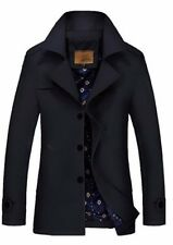 Mens Jacket Warm Winter Trench Coat Slim Fashion Casual Smart Button Windbreaker
