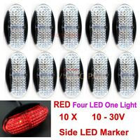 10X 12V 24V Red CLEARANCE LIGHT SIDE MARKER 4 SUPERFLUX LED TRAILER TRUCK BUS