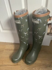 Barbour Long Wellington Boots Green Dog Pattern Size 5