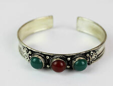 Tibetan Metal Stone Bracelet Cuff Beads Bangle Retro Handmade Nepal FairTrade