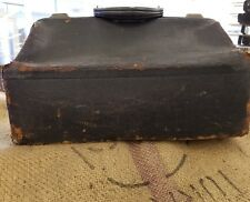 Antique Vintage Leather Medical Doctor's Bag Satchel Large Old Brown Cowhide