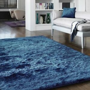 Diva Blue Bright Non Shed Soft Thick Fluffy Polyester Shaggy Living Room Rugs