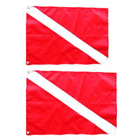 2Pcs Red & White Polyester Diver Down Flag Scuba Diving Spearfishing Signal