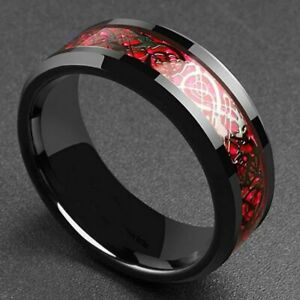 8mm Dragon Men's Ring Carbon Fiber Band Stainless Steel Comfort Fit Accessories