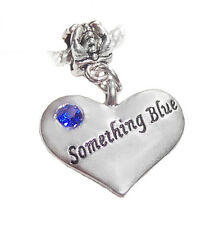 Something Blue Heart Bridal Bride Gift Rhinestone Charm for European Bracelets