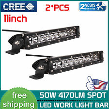 2X 50W 11inch Cree LED Work Light Bar 3D Spot Slim Offroad Lamp 12V 24V 4wd ATV