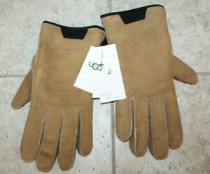 NWT Men's UGG Suede Shearling Lined Tech Gloves Chestnut Brown M $155