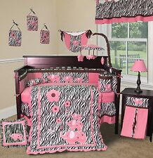 Baby Boutique - Pink Zebra - 14 pcs Crib Bedding Set including Lamp Shade