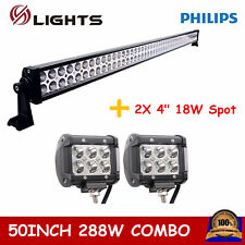 "50"" 288W Philips Combo LED Light Bar Off-road UTE Jeep Ford+ 2X 18W Spot Lights"
