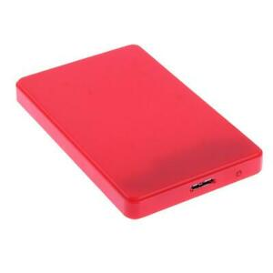 "USB 3.0 2.5"" SATA HDD HARD DRIVE ENCLOSURE CADDY CASE CABLE RED"