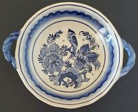 Delfts Holland Hand Painted Bowl Blue Bird Floral Handles 6""