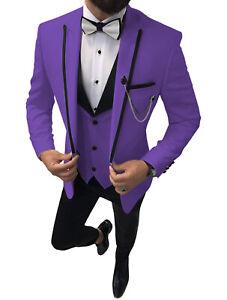 Formal Mens 3Piece Suits Notch Lapel Groom Tuxedos Wedding Blazer+Vest+Pants 56+