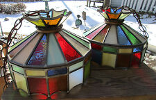 2 Vintage Stained Glass Ceiling Light Fixtures Leaded Plastic Textured Panels