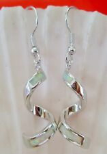 WHITE GREEN FIRE LONG CURL  EARRINGS with  925 Sterling Silver HOOK