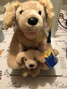 """Very Rare 2014Golden Labrador/Retriever/dog and Puppy 17"""" BUILD A BEAR brand new"""