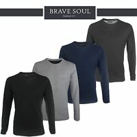 Mens Brave Soul Plain Long Sleeve Summer Crew Neck T-Shirt Cotton Sweatshirt