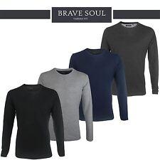Mens Brave Soul Plain Long Sleeve Summer Crew Neck T-Shirt Cotton Sweatshirt