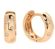 FINE DIAMOND HUGGIES DOMED HOOP EARRINGS HIGH-POLISHED 14K ROSE PINK GOLD