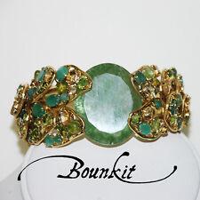 Stunning Emerald,Tourmaline,Green Onyx &  Citrine Cuff Bracelet by Bounkit
