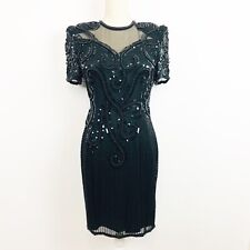 Showtime Hand Beaded Silk Dress Cocktail Evening Gown Black size M