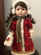 porcelain doll Christmas 17� With Stand With Earmuffs