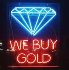 "We Buy Gold Diamond Neon Light Sign 32""x28"" Lamp Poster Real Glass Beer Bar"