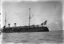 Late 1800s Battleship French Redoutable? ORIGINAL GLASS PHOTO NEGATIVE