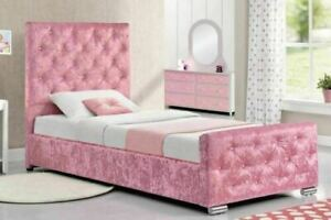 PINK GIRLS PRINCESS CRUSHED VELVET UPHOLSTERED 3FT SINGLE BED FREE P&P ALL SIZES