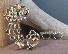 Vintage Estate Pin Lot Avon Filigree Dog  Goldtone Cat Eye Glasses Brooch #637