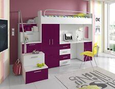 PATI Hochbett mit Schreibtisch, Schrank und Regal in der Treppe Hochglanzfronten