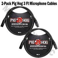 2 Pig Hog 3ft Microphone Cable XLR Lifetime 8mm Tour Grade PHM3 Black PigHog