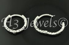 18k solid white gold kids hoop earring earrings diamond cut ball kids 0.80grams