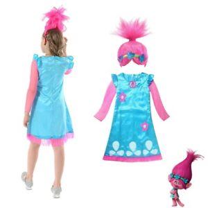 10-12 Years Child Trolls Poppy Troll Fancy Dress Costume & Wig Kids Girls Outfit