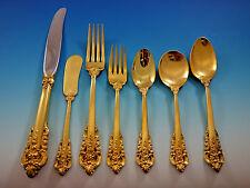 Golden Grande Baroque by Wallace Sterling Silver Flatware Set Dinner 57 pcs Gold