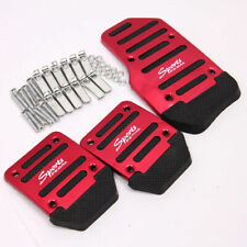 3 Pcs Red Aluminum Alloy Racing Sports Car Manual MT Non-Slip Foot Pedals Cover
