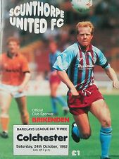 Scunthorpe United V Colchester United Barclays LEAGUE Division Three. 24/10/1992