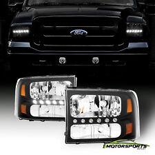 1999-2004 Ford Excursion F250 F350 F450 Superduty Black Bright LED Headlights