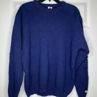 Columbia 100% Shetland Wool Mens Sweater Size Large Blue