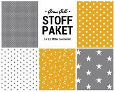 Stoffpaket gelb grau 5x (0,5 x 1,50m) Patchworkpaket Baumwolle Nähpaket Stoffe