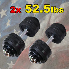 Set of 2 x 52.5 lbs Dumbbells Total 105 lbs Adjustable Black Plated Dumbbell