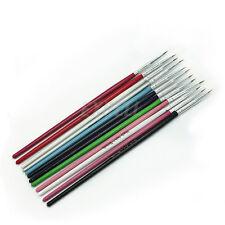 Set 12 Pennelli FINI Micropittura Ricostruzione Unghie Decorazione Tips Design