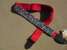BEADED RED GUITAR STRAP BLACK BLUE GREEN RED PURPLE ABSTRACT BEADED STRAP