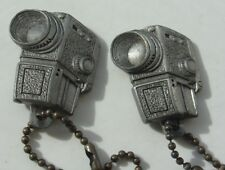 Pewter Keychain Fob Lot Vintage Movie Camera Advertising Color King Hollywood Fl