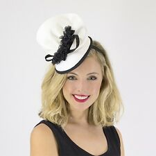 Jendi Ladies White & Black Formal Racing Wedding Derby Day Fascinator Headband