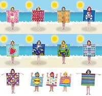 Childrens Kids Hooded Poncho Beach Swimming Pool Towel UV Protection