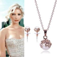 Elegant Bridal Wedding Jewelry Set Pearl Flower Plated Necklace Stud Earrings PK