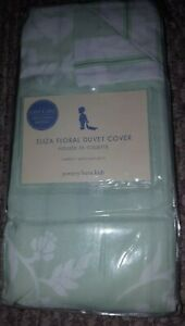 New Pottery Barn Kids GREEN Eliza Toddler DUVET Cover floral / stripe girl