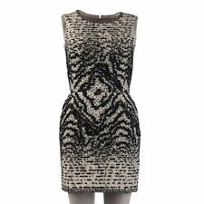 OSCAR DE LA RENTA Dress Black & White Beaded Sleeveless Size US 2 / UK 6 CG 390