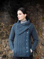 Women's Soft Blue Cable Knit Button Aran Coat Jacket x4836 - Irish Merino Wool