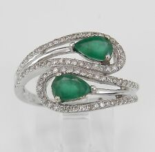 14K White Gold Diamond and Emerald Cocktail Bypass Gemstone Ring Size 7 May Gem